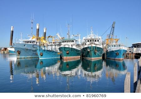 vissersboot · miniatuur · geïsoleerd · witte · achtergrond · Blauw - stockfoto © klinker