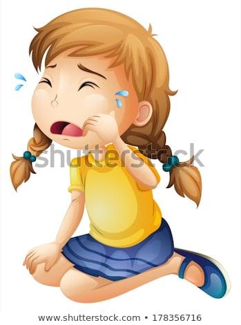 Kislány kék szoknya sír illusztráció gyermek Stock fotó © bluering