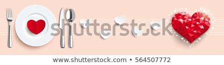 Low Poly Heart Valentine Knife Fork Spoon Header Stock photo © limbi007