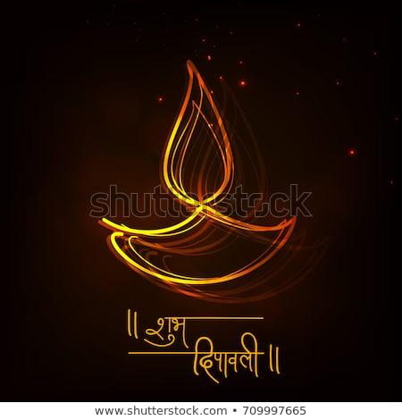 diwali festival flyer design with diya, fireworks and hanging la Stock photo © SArts