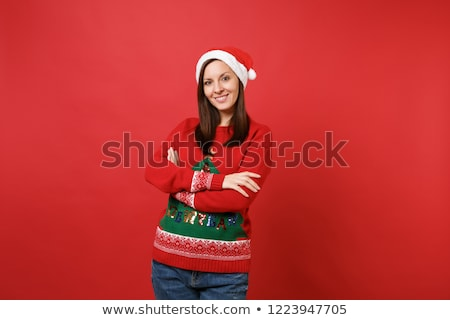 young santa girl in christmas concept isolated on white stock photo © elnur