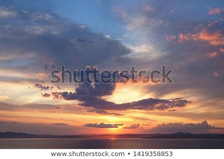 夜明け シルエット 山 海 太陽 光 ストックフォト © All32