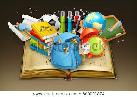 De volta à escola cartaz projeto azul fórmulas textura Foto stock © pashabo