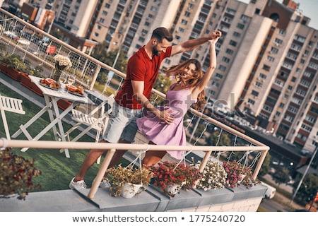 Afetuoso casal champanhe varanda casa mulher Foto stock © wavebreak_media