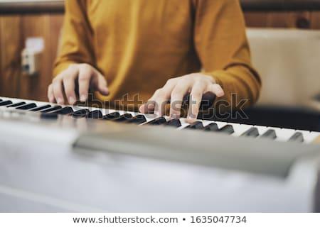 Foto d'archivio: Femminile · musicista · giocare · piano · concerto