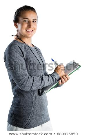 Portré női atléta sportruházat tart rögbilabda Stock fotó © wavebreak_media
