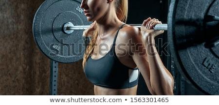 фитнес · девушки · зеленый · гантели · розовый · брюки - Сток-фото © julenochek