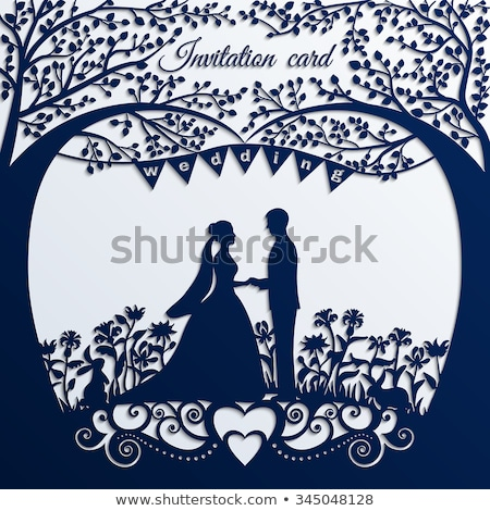 bride and groom couple wedding silhouette stock photo © krisdog