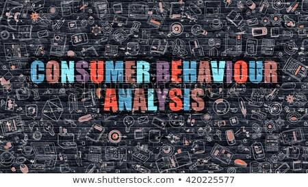 Consumidor comportamento análise escuro parede de tijolos rabisco Foto stock © tashatuvango