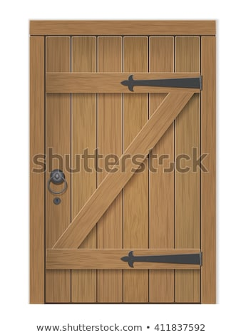 Сток-фото: Old Wooden Door Vector Illustration