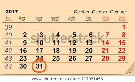 31 October 2017 Halloween. Calendar date reminder form pumpkin lantern Stock photo © orensila