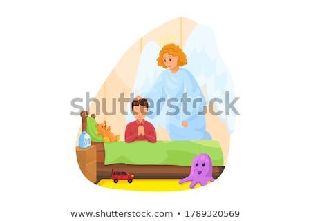Dziecko chłopca spać opiekun anioł ilustracja Zdjęcia stock © lenm