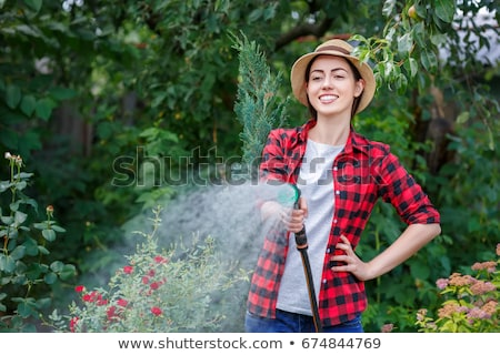 Young girl spraying water with a hose Stock photo © IS2