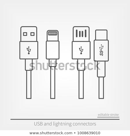 Icons of chargers from thin lines, vector illustration. Stock photo © kup1984