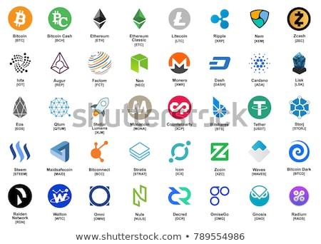 Gekleurd logo digitale valuta icon grijs Stockfoto © tashatuvango
