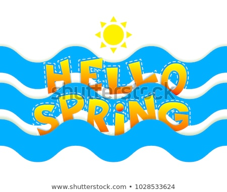 Stockfoto: Hello Spring Inscription With Sun And Waves Vector Colorful Ban