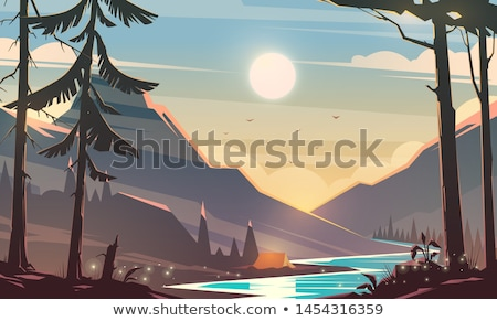 Background scene with snow on top of mountains Stock photo © bluering