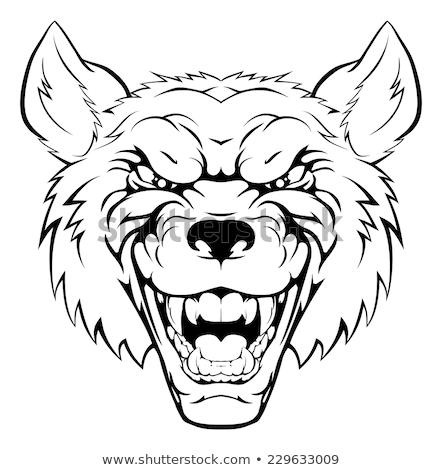 黒白 怒っ 狼 漫画のマスコット 文字 孤立した ストックフォト © hittoon