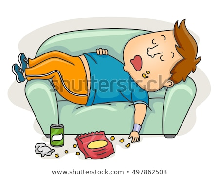 Man Workout Clothes Junk Food Sleeping Stock photo © lenm