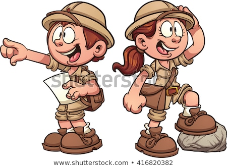 a happy girl in a safari outfit stock photo © bluering