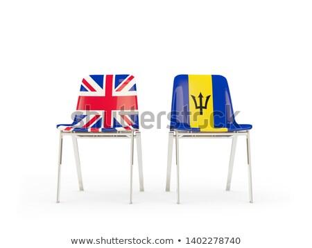 Sedia bandiera Barbados fila bianco sedie Foto d'archivio © MikhailMishchenko