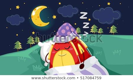 Maskot çadır uyku Yıldız örnek kırmızı Stok fotoğraf © lenm