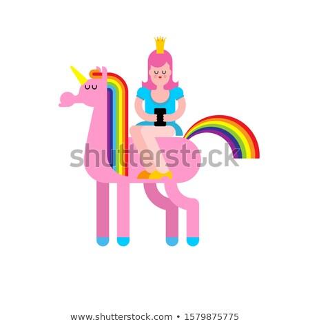 Stockfoto: Prinses · smartphone · dochter · koning · fairy · paard
