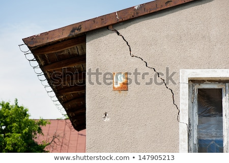 fissuré · maison · maison · architecture · cartoon · assurance - photo stock © carbouval