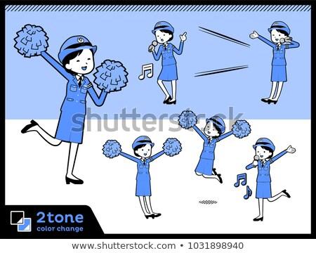 тип полиции книга женщины микрофона синий Сток-фото © toyotoyo