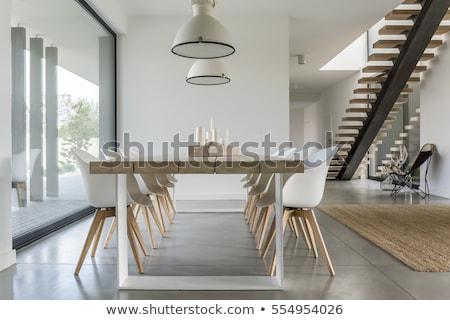 şık iç modern tarzda ahşap basamak salon Stok fotoğraf © bezikus