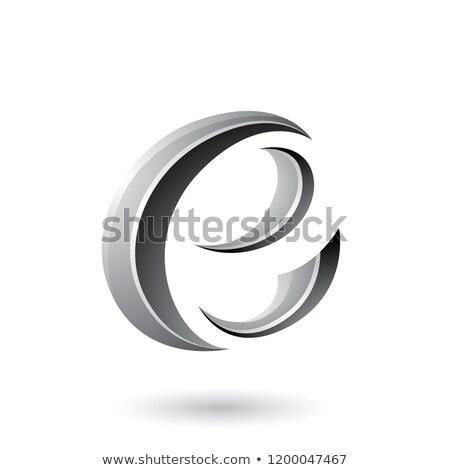 grey glossy crescent shape letter e vector illustration stock photo © cidepix