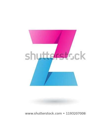 Magenta Folded Paper Letter Z Vector Illustration Stock photo © cidepix