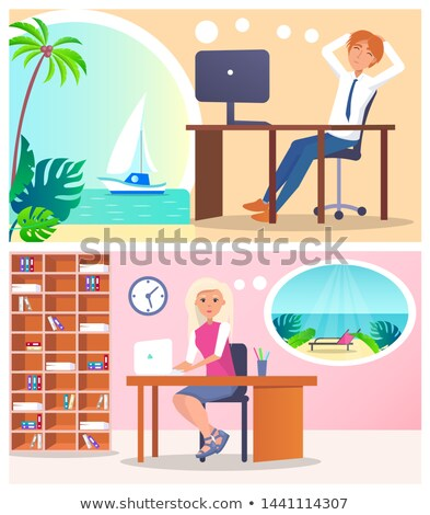 Workers Dreaming About Rest Two Colorful Banners Stock photo © robuart