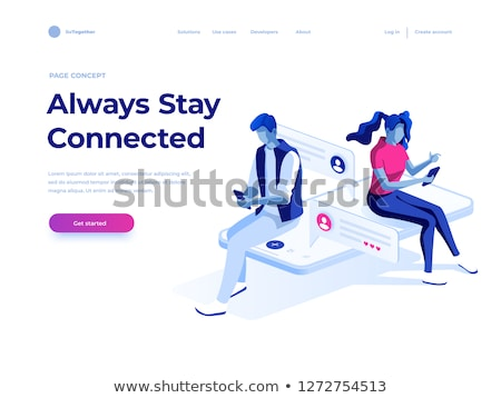 isometric vector concept landing page header for social media network chatting stock photo © tarikvision