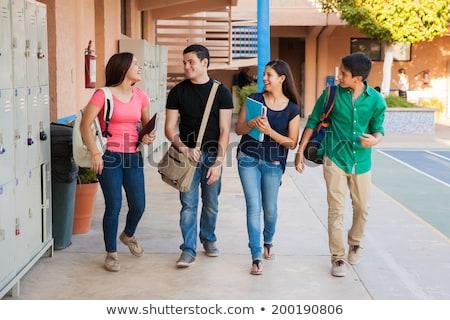 Középiskola diák lány hátizsák kint oktatás Stock fotó © dolgachov