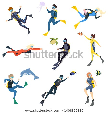 Woman And Man In Diving Masks Vector. Isolated Illustration Stock photo © pikepicture