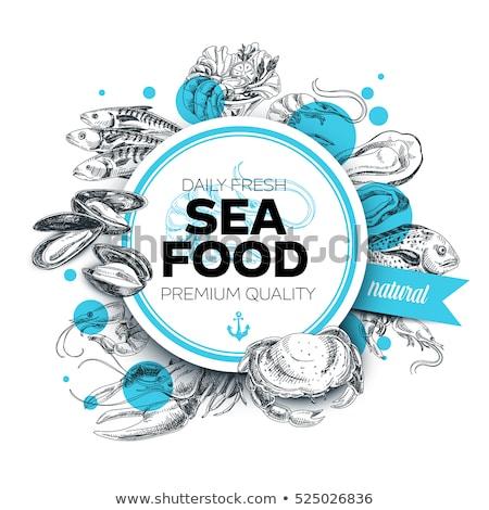 Vintage Seafood Restaurant Hand Drawn Card Stock photo © robuart