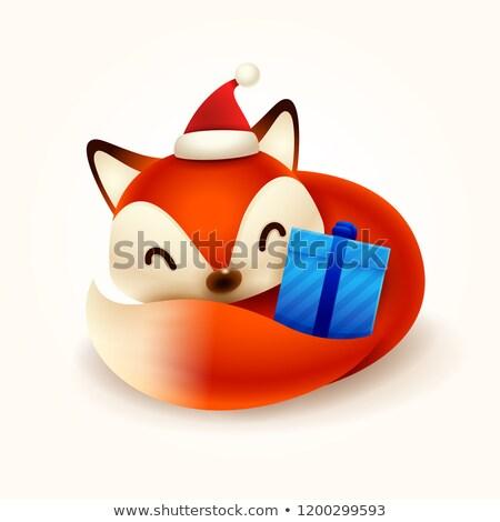 Noël · cute · peu · Fox · rouge · écharpe - photo stock © ori-artiste