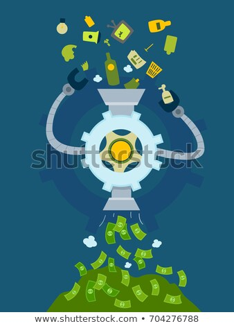 Vuilnis geld machine illustratie recycling Stockfoto © lenm