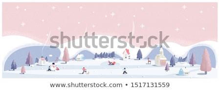 winter · landschap · dorp · wolken · sneeuw · bomen - stockfoto © kotenko