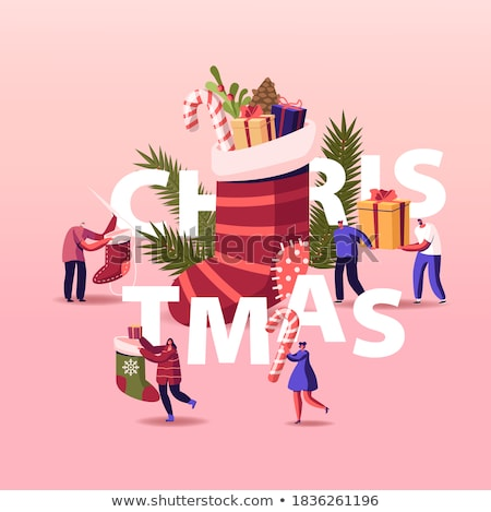 Happy people celebrating Christmas and New Year by fir-tree at h Stock photo © boggy