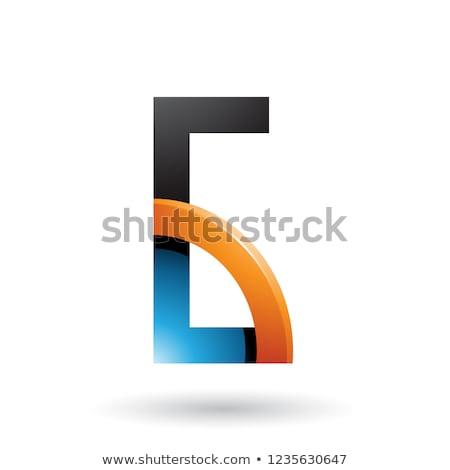 Kék narancs g betű fényes negyed kör Stock fotó © cidepix