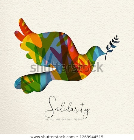 Human Solidarity card of bird and diverse hands Stock photo © cienpies