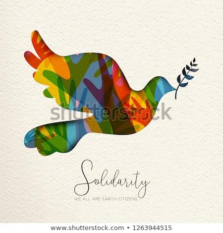papier · helpende · hand · hand · illustratie · helpen · hulp - stockfoto © cienpies