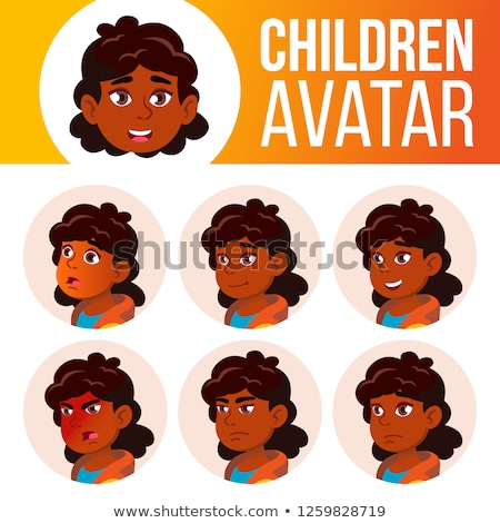 Girl Avatar Set Kid Vector. Primary School. Indian, Hindu. Asian. Face Emotions. User, Character. Le Stock photo © pikepicture