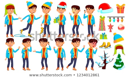 asian boy schoolboy kid vector primary school child christmas animation creation set clever posit stock photo © pikepicture