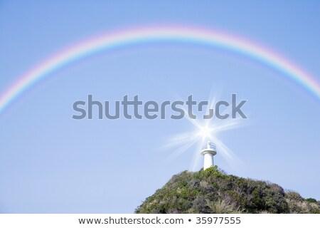 Rainbow · panorama · erba · alberi · due · cartoon - foto d'archivio © colematt