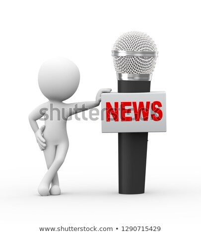 3d man with large news box announcement microphone Stock photo © nasirkhan