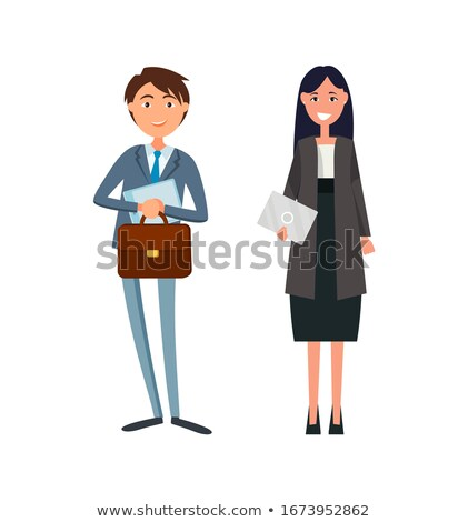 praten · werk · vrouw · man · baan - stockfoto © robuart