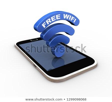 3D parola libero wifi wireless simbolo Foto d'archivio © nasirkhan